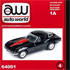 1967 - Chevy CORVETTE 427 Preto - Auto World - 1/64 - 1967 Chevy Corvette 427 Preto - Auto World - 1/64