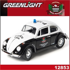 Volkswagen VW Fusca POLICIA CIVIL - Greenlight - 1/18 - VOLKSWAGEN VW FUSCA POLICIA CIVIL - Greenlight - 1/18