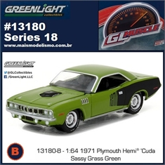 GLMUSCLE 18 - 1971 Plymouth Hemi Cuda Verde - Greenlight - 1/64 - 1971 Plymouth Hemi Cuda Verde - Greenlight - 1/64
