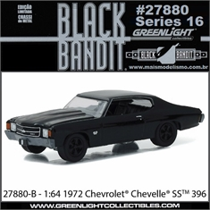 BLACK BANDIT 16 - 1972 Chevrolet Chevelle SS 396  - Greenlight - 1/64