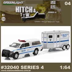 2014 Dodge RAM 1500 and Horse Trailer NYPD - Greenlight Hitch and Tow - 1/64 - 2014 Dodge RAM 1500 and Horse Trailer - Greenlight Hitch and Tow - 1/64