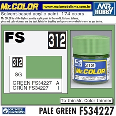 Tinta Gunze Laca Acr Mr Color C312 VERDE PALE FS34227 Semi-Brilho - 10ml