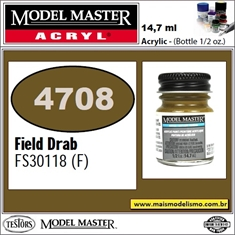 Tinta Model Master 4708 Acryl CAMPO DRAB Fosco FS30118 - 14,7ml - Tinta Model Master 4708 Acryl VERDE CAMPO DRAB FOSCO FS30118 - 14,7ml