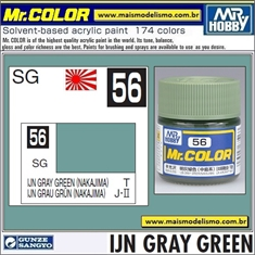 Tinta Gunze Laca Acr Mr Color C 56 IJN GRAY GREEN - 10ml - Tinta Gunze Laca Acr Mr Color C 56 VERDE CINZA - 10ml