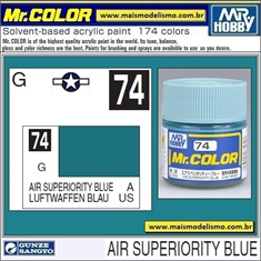 Tinta Gunze Laca Acr Mr Color C 74 AIR SUPERIORITY BLUE Semi-Brilho - 10ml