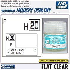Tinta Gunze Acrílica H 20 INCOLOR Fosco - Mr Hobby - 10ml