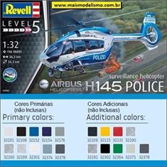 Helicóptero H145 Police Airbus - Revell - 1/32 - H145 Police Airbus - Revell - 1/32