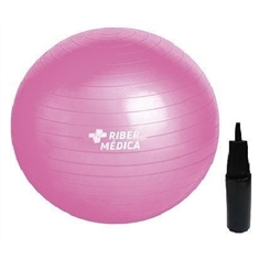 Bola Suiça 65 Cm Gym Ball C/ Bomba Rosa - Yoga Pilates Fitness Ribermedica - AM1203-R