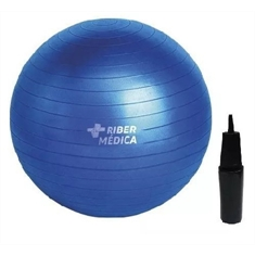 Bola Suiça 65 Cm Gym Ball C/ Bomba Azul - Yoga Pilates Fitness Ribermedica - AM1203