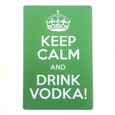 Placa de Metal Keep Calm Vodka 20x30cm