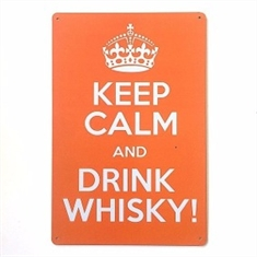 Placa de Metal Keep Calm Whisky 20x30cm