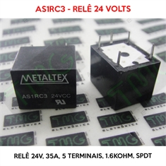 Relé 24VDC - AS1RC3, 24VOLTS - Relê 24V, 5A, 5 Terminais, Electromechanical Relay 24VDC 1.6KOhm 35A SPDT - Relê 24VDC - AS1RC3, 24VOLTS - Relê 24V, 5A, 5 Terminais