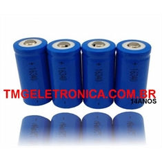 CR16340 - Bateria Recarregável Li-ion 3,7V Li-ion Rechargeable,16340 3.7v - Cr16340 Li-ion Rechargeable 1000Mah/ 16Mmx33Mm