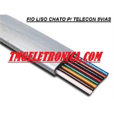 CABO CHATO LISO 8Vias, FIO CABO CHATO PARA ETHERNET e TELEFONIA 28AWG, 8VIAS, Ethernet Telephone 8 Wire Conductor Cord Cable Flat - CORES - Cabo liso Chato de 8Vias P/ ETHERNET e TELEFONIA - Cor PRETO