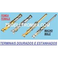 TERMINAL DOURADO, GOLD - PARA CONECTOR CIRCULAR / Macho  ou Femea, Pin & Socket Connectors Contact, Male or Female - GOLD 16-18 AWG - TERMINAL MACHO/ GOLD, DOURADO - P/ CONECTOR CIRCULAR
