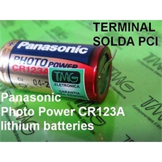CR123 - Bateria CR123 3V, Photo Battery Lithium, Battery & Photo CR123A, Bateria para Câmera Fotográfica - COM TERMINAL - CR123 - COM 2 Terminais / Solda Placa