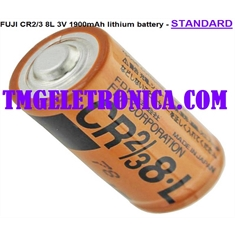 CR2/3 8.L - BATERIA FUJI FDK  CR2/38.L, CR2/3 8L, High Capacity Cylindrical Type Primary Lithium PLC Battery CR2/3 8.L, 3Volt 1900mAh Lithium - Batt. CR2/3 8.L - 3V 1900MAh FUJI/ FDK - Mod. Standard