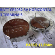 CR2032 - LITHUM 3V TIPO BOTÃO Button Cell / TERMINAL TIPO 42 - CR2032 - Horizontal Terminal Solda PCI  3Pinos