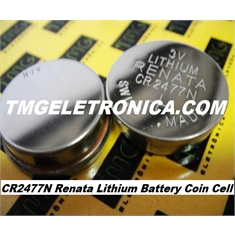CR2477 - Bateria Renata CR2477N 3Volts Lithium Botão, Renata Batteries, Battery Lithium Manganese Dioxide CR2477N, Coin Button Cell, IHM, CNC, PLC ROBOT & MACHINE - CR2477N 3V - C/Fio e Conector