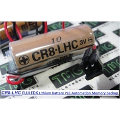 CR8-LHC - BATERIA CR8.LHC Fuji 3Volt, Battery Lithium CR8LHC Backup Battery, PLC, CNC, ROBOT, Automobile Industry ARM Robots Primary Controller - Similar(Equivalente) Á CR8-LHC 3 Volt Lithium, Replace/Substituta C/Fio e Conector