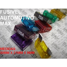 Fusivel Lamina,fusível Automotivo MAX  30Mm X 10Mm, Fuse MAXI, Blade Fuses Automotive Car Truck ,Car Audio and Video,Fuse - 20 Á 100 Amperes  / 32Vdc - Fuse Lamina Automotivo MAX  - 100Amper / 32Vdc