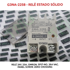 Relé 24VDC - G3NA-225B, 24VOLTS - Relé 24V, 25A, OMRON, Solid State Relay, SPST-NO, 25 A, 264 VAC, Panel, Screw, Zero Crossing