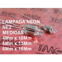 Mini Lampada - Neon NE2 - De 12Volts Até 220Volts, Micro Lâmpada NEON, Micro lamps Miniature - Lampada para Painel, Pilot-Light-Bulb, Instrument Pilot, Machines - Clear transparent - Lampada NEON Clear/NE2 - Size ± Ø 5Mm