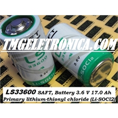 LS33600 - BATERIA 3,6V Lithium-Thionyl chloride (Li-SOCl2), Saft Batteries LS 33600 Lithium SIZE D Battery 17.000mAh Primary Lithium - Battery Similar/Origem China -  3.6Volts / 19ah Lithium Non rechargeable