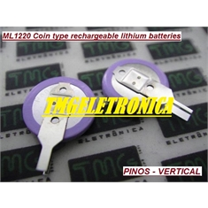 ML1220 - BATERIA RECARREGAVEL LITHIUM 3V - 17MAh ,ML1220 - Coin Cell Battery Rechargeable Backup Battery - 2Pinos - ML1220  - Coin Cell Battery Rechargeable Backup Battery - 2Pinos