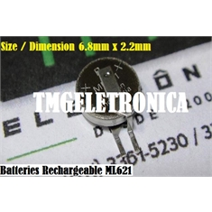 ML621S - BATERIA RECARREGAVEL 3V 5mAh, ML-621S Panasonic Micro Battery Rechargeable Button Coin Cell - ML621S/DN - BATERIA RECARREGAVEL 3V 5mAh, C/ 2 PINOS P/SOLDAR NA PCI