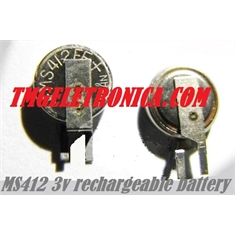 MS412FE - Bateria MS412 Recarregável 3V 1mAh, Seiko Instruments Micro Battery Ø 4.8mm x 1.2mm Rechargeable Button Coin Cell - MS412FE-FL26E - Battery Recharge 3Volts 1mAh - Ø 4.8mm x 1.2mm