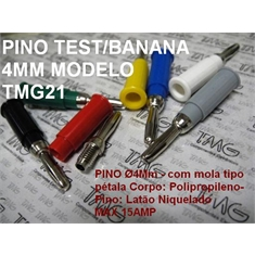 Pino BANANA 4Mm - Montagem cabo 15Amper, Pino: Ø4Mm Banana Plug Binding Post Conector - COLORS TYPE 0.021 - Pino BANANA Ø4Mm 15Amp - CINZA