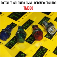 Porta LED, Suporte de LED 3MM - REDONDO Panel mount LED holder LED ACRYLIC TMG80/VÁRIOS - Suporte de LED 3MM - Redondo / Transparente = Cristal