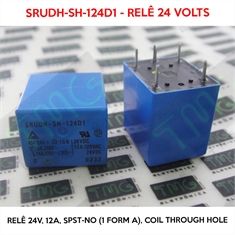 SRUDH-SH-124D1 24VOLTS - Relê 24V, 12A, General Purpose Relay SPST-NO (1 Form A) 24VDC Coil Through Hole