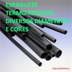 TUBO TERMORETRÁTIL, ESPAGUETE TERMO CONTRÁTIL, HEAT SHRINK TUBE - Diametros de Ø 0,5Mm Até Ø 180MM - Cor PRETO - Tubo Thermo Contrátil encolhe Até 50% - Ø 1,6Mm/Preto Valor do metro