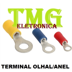 Terminal Olhal - Anel Pré-Isolado,Insulated Terminals RING Electrical - Terminal Olhal - Ø Interno 5MM (Vermelho)