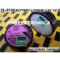 TL-5135/P - Bateria Lithium 3,6V, Battery Tadiran Lithium 3.6V Tadiran Backup Inorganic 1/6D WAFER CELL 1.7A , TL5135 PLC,CNC,ROBOT & MACHINE - TL-5135/P Backup Inorganic, PLC,CNC,ROBOT & MACHINE