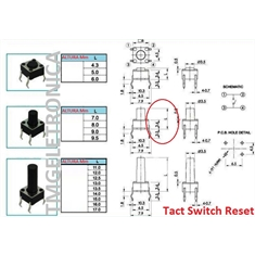 CHAVE TACT 13Mm -  6MmX6MmX13Mm 4 pinos - Tact Switches