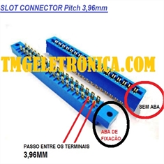 Conector Fêmea Slot PCB, Lista de 10vias até 100vias -  Card Edge Connectors, Edgeboard Connectors, Slot Edge Conector - Terminal Passo (Pitch) 3,96mm - Conec.SLOT 48Vias = (2Fileiras x 24vias) C/Abas Fixaç