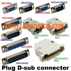 DB15 - Conector 15Vias,Solda Fio Macho OU Femea,D-Sub Connector Plug Female,Male Pins15 Position - DB15 - Macho solda fio