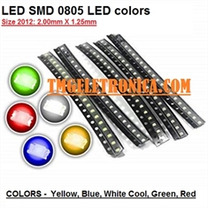 LED SMD 0805, Light emitting diodes 0805 (2012 metric) Standard LEDs - SMD - 2.0 mm × 1.25 mm - Diversas Cores - LED SMD 0805, Light emitting diodes (2012 metric) - Amarelo