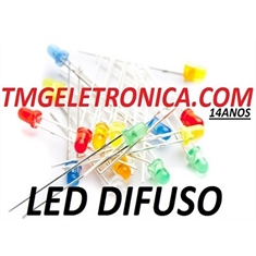 LED 5MM DIFUSO,Led Leitoso,Led Difuso 5mm, LED Diffused Round Light Emitting Diodes Lamp Colors - VÁRIAS CORES - LED DIFUSO,Led Leitoso Ø 5MM - COR AMARELO