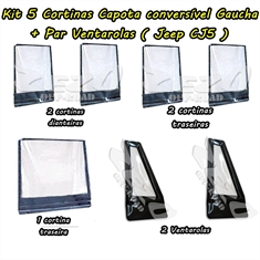 Kit Cortinas/Ventarolas Capota Conv Gaucha Jeep Cj5 (7 pçs)  - Kit Cortinas Cj5