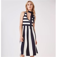 Vestido Tricot Stripe Animale - G