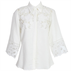 Camisa Samira Off-white Renda - M